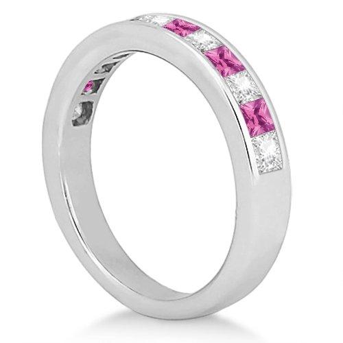 Canal Pink Sapphire & Diamond Bridal Set Palladium (1.30ct): Allurez: Amazon.es: Joyería