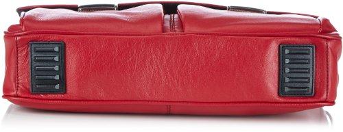 Bugatti Bags George Aktentasche, klein, 39 x 28 x 8 - Bolso de mano de cuero unisex, color azul, talla 39x28x8 cm (B x H x T) rojo - Rot (Rot 16)