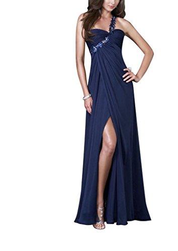 Perlen GEORGE SchulterChiffon BRIDE Brillante Abendkleid Vorder langes Eine Split Koenigsblau mit UUHRExq