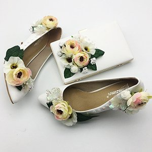 Color Shoes 5Cm Shoes Pumps Bat and Pearls 2 Beading Red Flowers bag Sequins Heels Set Flowers Party Prom Woman Sandals VIVIOO shoes Blue Wedding Heel Women Girl nqvwz1YxU