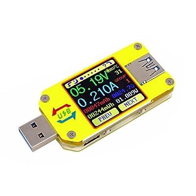 UM34C USB Meter Tester, Voltage Current Battery Power Charger Voltmeter Ammeter Multimeter Tester 1.44 Inch Color LCD Display USB 3.0 Type-C Cable Resistance Load Impedance Meter Bluetooth