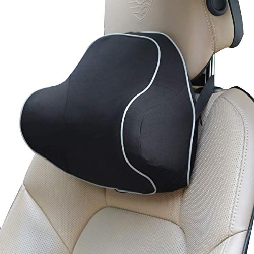 MUTANG Memory Foam Car Back Support Lumbar Cushion Pillow & Neck Pillow for Car Ergonomic Design Orthopedic Lumbar Support Back Pillow (Color : Black, Size : ()