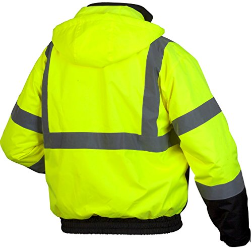 Pyramex Lumen X Class 3 Fleece Bomber Safety Jacket, Hi-Vis Lime 2