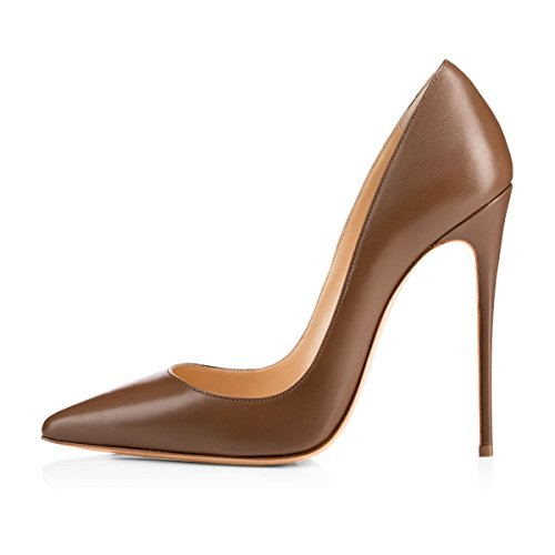 Onlymaker Women's Sexy Pointed Toe High Heel Slip On Stiletto Pumps Large Size Basic Shoes Brown 13 M US -