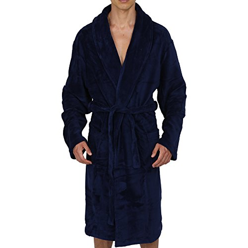 (Regency New York Coral Fleece Robe Navy L/XL)
