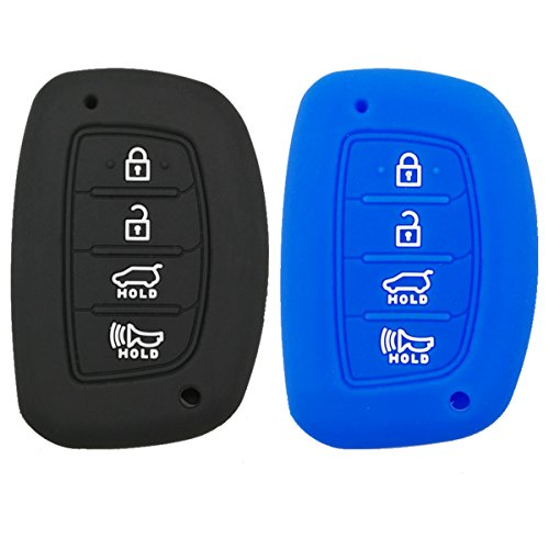 Coolbestda 2Pcs Rubber 4 Buttons Smart Key Fob Remote Cover Case Protector Keyless Jacket for 2018 2017 2016 Hyundai Tucson Elantra Sonata (NOT FIT Flip/Pop Out/Folding Key (Hyundai Elantra 2018 Accessories)