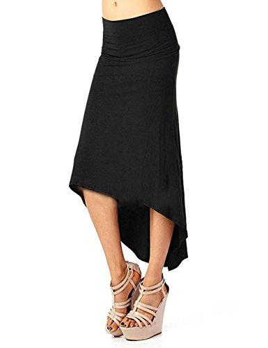 CMGD Womens Asymmetric Knit Plain Office Bodycon Stretch Midi Retro Pencil Skirt
