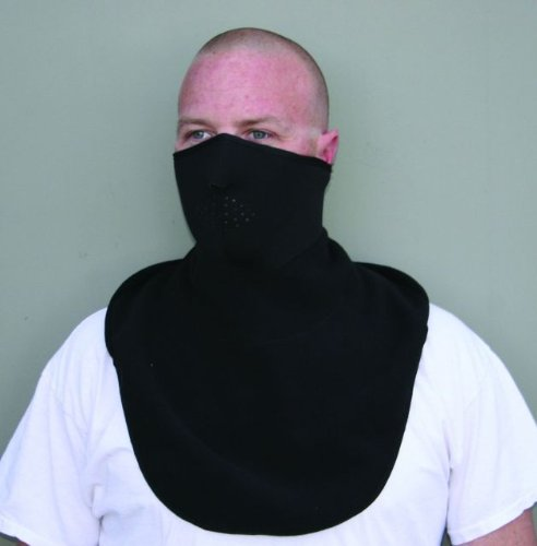 ZANheadgear Neoprene Half Face Mask with Fleece Neck Shield (Black)