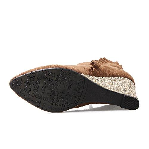 Chaussures Bout Femmes L'hiver avec pour Dentelles avec Pointu Marron Compensees Chaud Fourrure 2017 Bottines Talon UH 5gwT0xpp