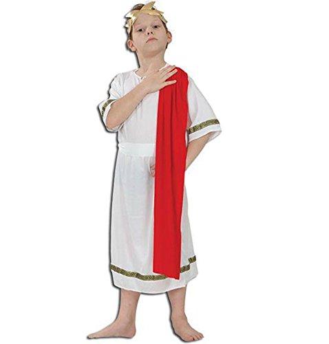 [Boys Roman Greek Caesar Goddess Toga Emperor Fancy Dress Costume 4-12 yr LARGE by Star55] (Roman Toga Costume For Kids)