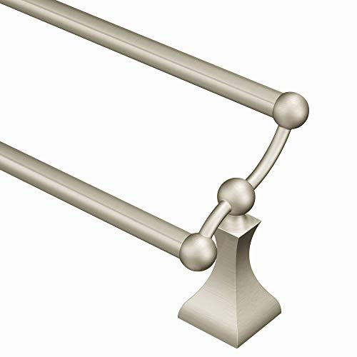 (Moen DN8322BN Retreat 24-Inch Bathroom Double Towel Bar, Brushed Nickel)
