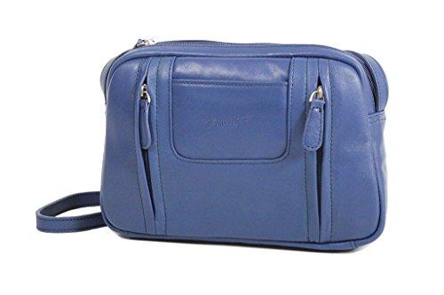 Tasche Gérard Henon aus weichem Färsenleder, glatt gh13201 Blau