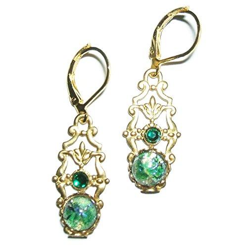 Gold And Emerald Cabochon Ring (VICTORIAN GREEN FIRE OPAL EARRINGS CZECH GLASS Gold Pltd Dangle Drops)