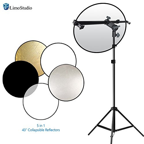 LimoStudio Swivel Head Reflector Arm Support Holder with Light Stand Tripod and 43 inch 5 Color in 1 Round Reflector Disc Panel, Photo Studio Kit, AGG2059 (Light Reflector Stand compare prices)