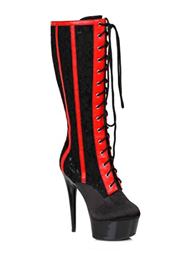 Ellie Shoes Womens 6 Inch Lace Knee High Boot Black/Red qjo5RGnm