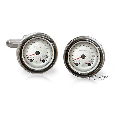 Hot Rod Classic Antique Car Speedometer Cuff Links in 18mm Stainless Steel or 16mm Sterling Silver - Anniversary Gift or Wedding Keepsake for Groom - Sports Car Cufflinks
