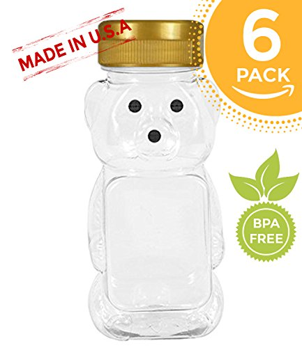 Bear Honey Jar (8 oz Honey bear with Flip Top Lid Plastic Squeeze Bear Wedding Party Favors (6, gold))