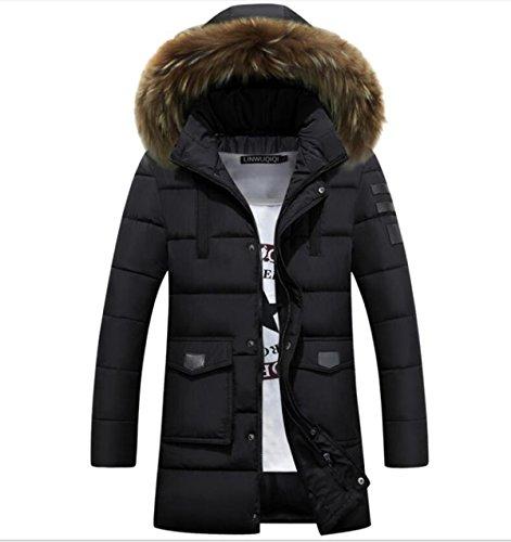 CHENSH Men Down Cotton Padded Long Section Slim Cotton Suit Fur Collar Winter Black