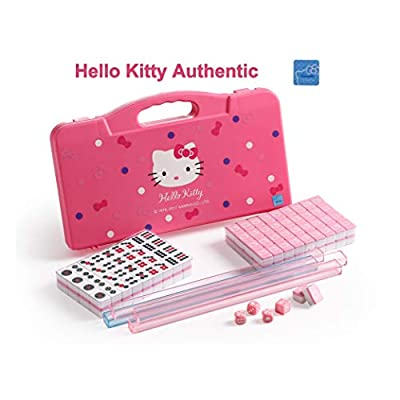 Hello Kitty Sanrio ハローキティ 146 Tiles Pink Mini with 4 Small Racks Mahjong Travel Size Set Birthday Valentines Gift: Toys & Games