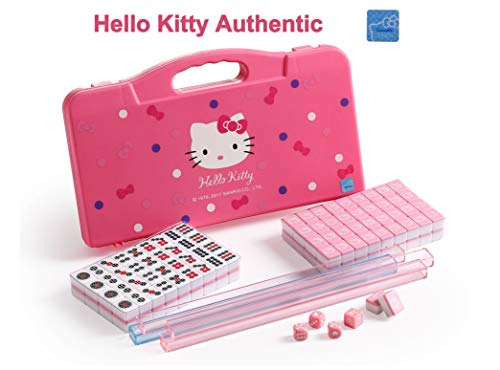 Hello Kitty Sanrio ハローキティ 146 Tiles Pink Mini with 4 Small Racks Mahjong Travel Size Set