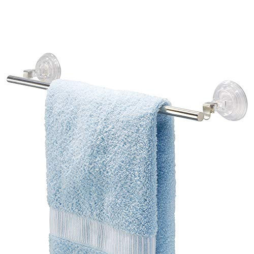iDesign Reo Metal Power Lock Suction Towel Bar Rack for Bathroom, Kitchen Use, 1.75