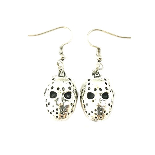 Jason Voorhees Hockey Mask Dangle Earrings Horror Films Classic Movies Cartoons Premium Quality Jewelry]()