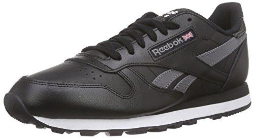 Reebok Cl Leather Pop Sc, Zapatillas de Running Para Hombre Negro / Gris / Blanco (Black/Shark/White)