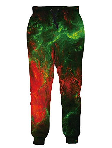 Teen Boys Girls 3D Print Pants Harem Jogger Pants Flame Smoke Orange Green Funny Graphric Cargo Sweatpants with Pockets M ()