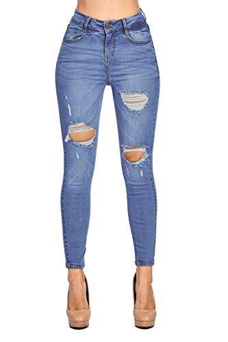 Blue Age Womes Ripped Destroyed Blue Well Stretch Skinny Jeans High Rise (JP1076HA_SN_1) (Distressed Low Cotton Rise Jeans)