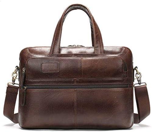 メンズブリーフケース, 14 インチレザーラップトップバッグ, メッセンジャーバッグ, マルチ-ポケットビジネスワークショルダーバッグ