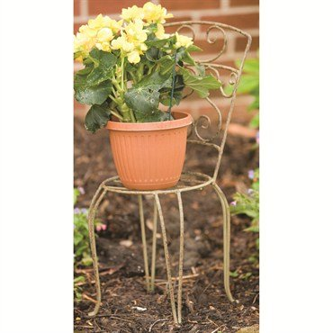 Panacea Products Whimsical Chair Plant Stand, Antique Willow Finish