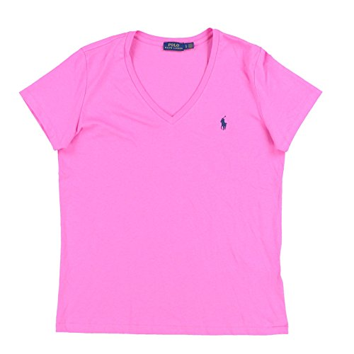 Polo Ralph Lauren Womens V-Neck Jersey T-Shirt (Large, Polo Pink)
