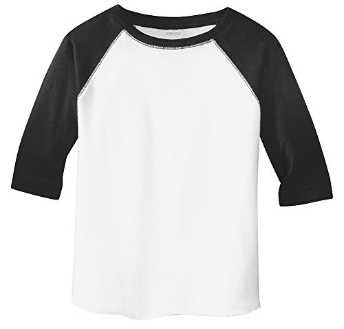 Joe's USA Toddler Baseball Fine Jersey Raglan Tee-2T-White/Black