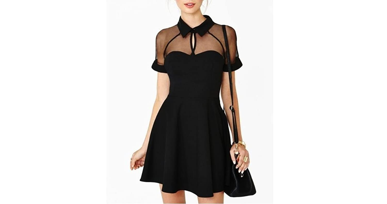 Girls Black Lapel Short Sleeve Chiffon Slim Dress Evening Party