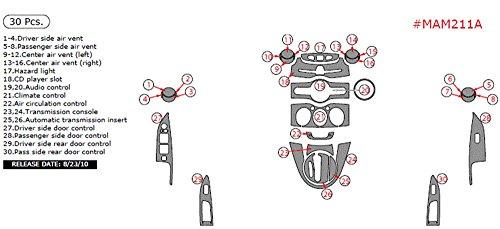 WOW Trim MAM211A-RBBCF Mazda 2 Basic Kit (4 Door) 30 Pcs., Real Blue & Black Carbon Fiber