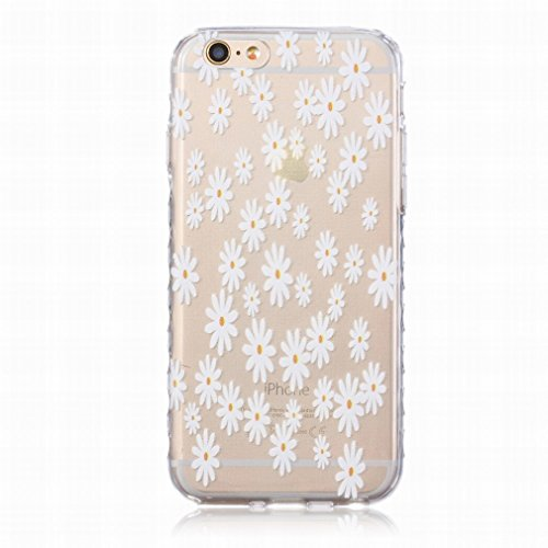 LEMORRY iphone 6 Plus / 6S Plus (5.5inch) Coque Etui, [Dérapage] Ripple Bord Conception Mignon Tiny Fleur Soft Caoutchouc TPU Silicone Transparent Clear Skin Housse Protecteur