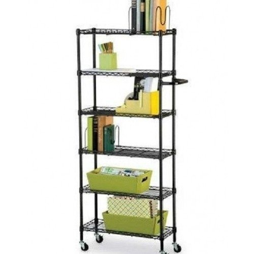 Rolling Kitchen 6 Shelf Pantry Rack- Black 56''