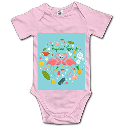 Flamingo Couple in Summer Tropical Love Baby Romper Short Sleeve Onesies Soft Bodysuits for Baby Toddlers by Hitecera