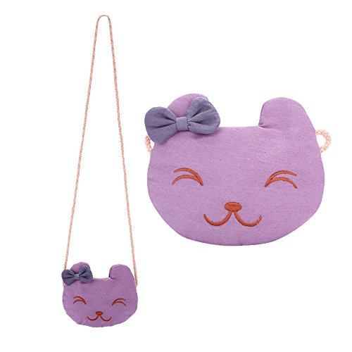 Little Girl Cute Mini Bag ,WALLYN'S Floral Bowknot Cross Body Shoulder Bags (Purple - Favorite Cat Purse