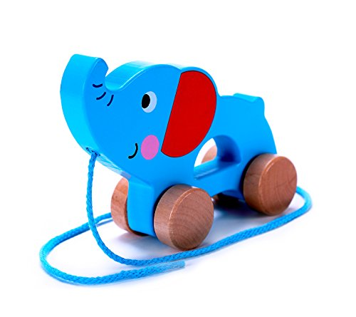 Cheapest Prices! Adorable Elephant Wooden Pull Along Toy for Toddlers Boy & Girl | Rolls Easy, Sturd...