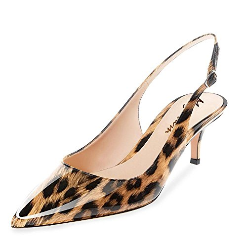 - Maguidern Kitten Heel Sandals, Patent Leather Pointed Toe Slingback Ankle Metal Buckle Strap Low Heel Shoes Brown Leopard Size 8.5