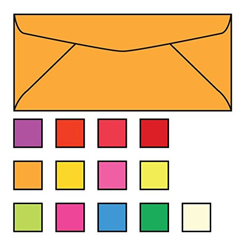 "#10 Regular Business Envelopes, 4-1/8"" x 9-1/2"", 24#, Brightly Colored Tangerine, Acid Free, No Window (Box of 500)"