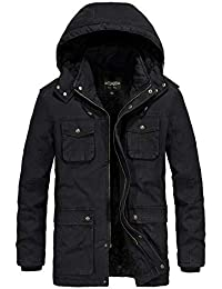 Men's Winter Casual Military Parka Jacket with Removable Hood