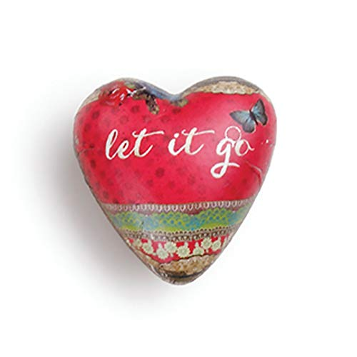 DEMDACO Let It Go Floral Red 2 x 2 Resin Stone Collectible Art Heart Token Figurine