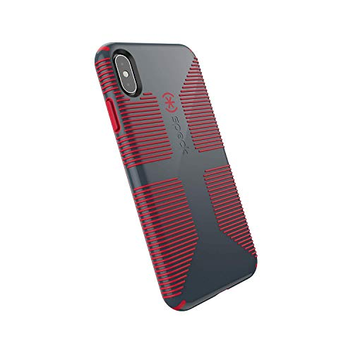 Speck Products CandyShell Grip iPhone Xs Max Case, Charcoal Grey/Dark Poppy Red