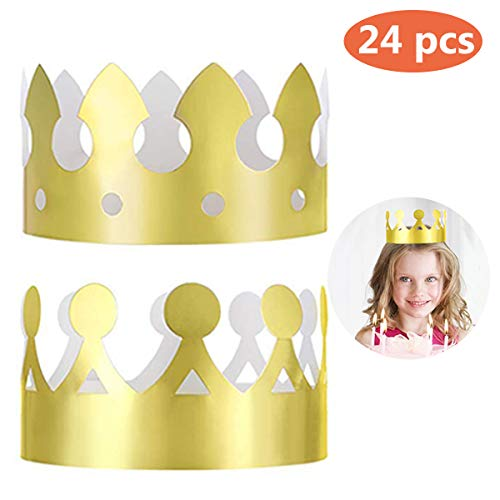 24 Pieces Golden King Crowns (2 Style), MSDADA Gold Foil Paper, Party Crown Hat Cap for Birthday ,Celebration Baby Shower ,Photo Props and Wedding Anniversary