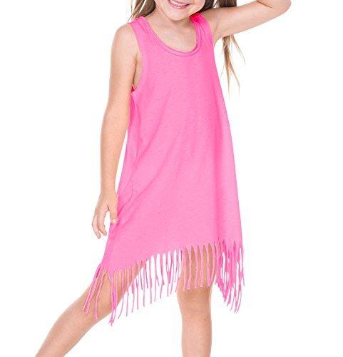 Kavio! Girls 3-6X Sheer Jersey Raw Edge Fringe Asymmetrical Tank Dress Pink Flash (Girls Raw Edge)