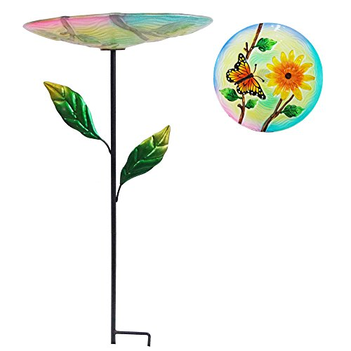 "Comfy Hour 24"" Butterfly Chrysanthemum Flower Glass Birdbath Birdfeeder Metal Art Garden Stake with Leaves"