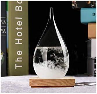 Fishlor Desktop Weather Station Storm Glass Creative Drop-Shaped Storm Glass Bottle Desktop Weather Station Weather Predictor Barometer