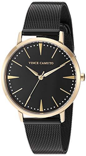 Vince Camuto Women's VC/5345GPBK Gold-Tone and Black Mesh Bracelet Watch